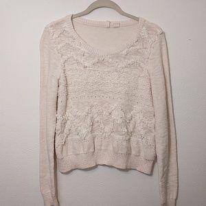 Anthropologie Moth | Cream Fringe Sweater  - Small
